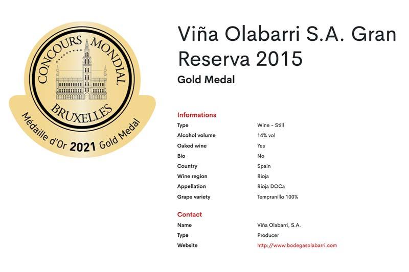 Medalla de Oro Gran Reserva 2015